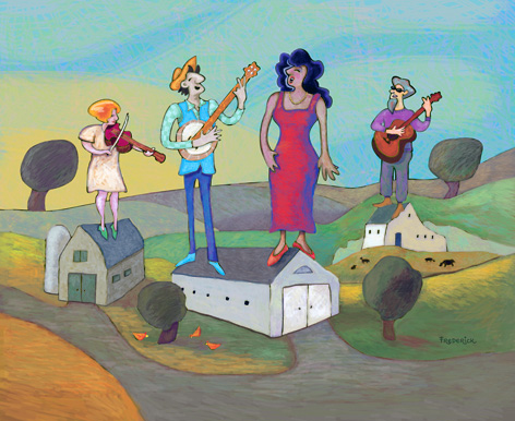 folk painting by Paula Frederick depicting a group of folksingers atop barns and other buildings in a farm scene; Wepecket Island Records, Folk music, traditional folk, traditional American music, banjos